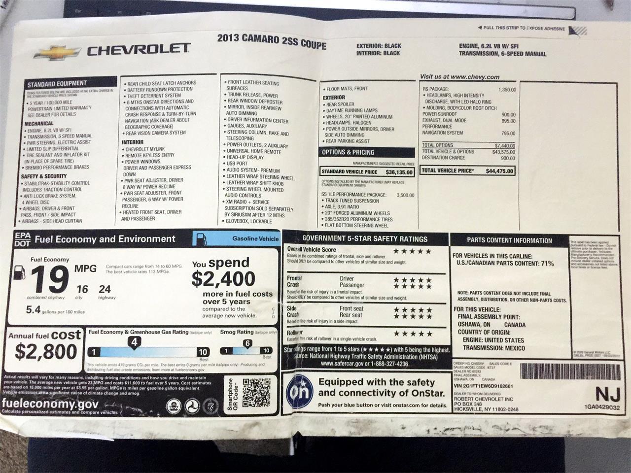 2013 Chevrolet Camaro SS (CC-1070422) for sale in Sarasota, Florida