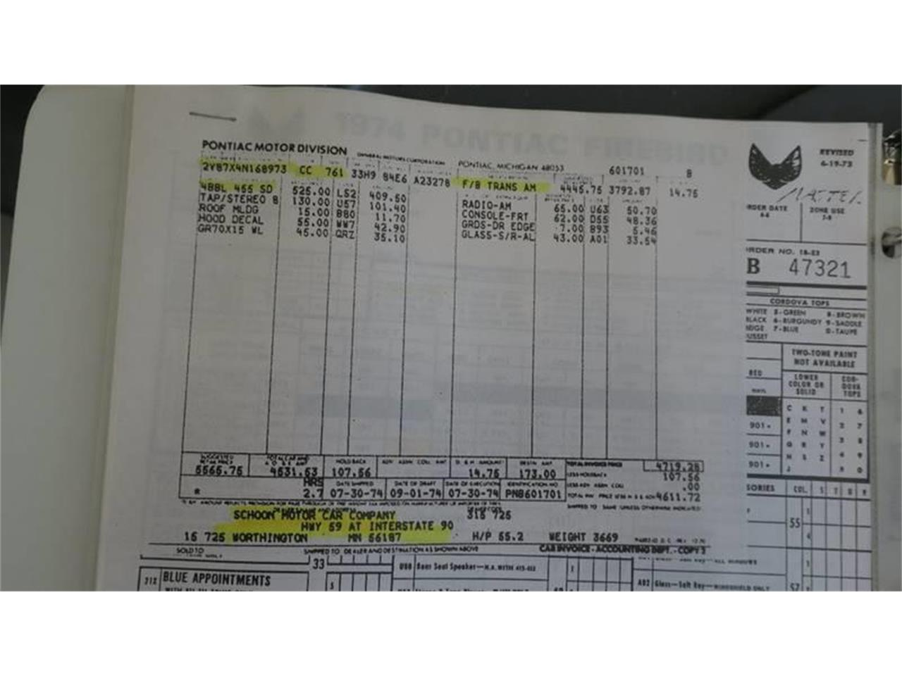 1974 Pontiac Firebird Trans Am (CC-1216647) for sale in Clarksburg, Maryland