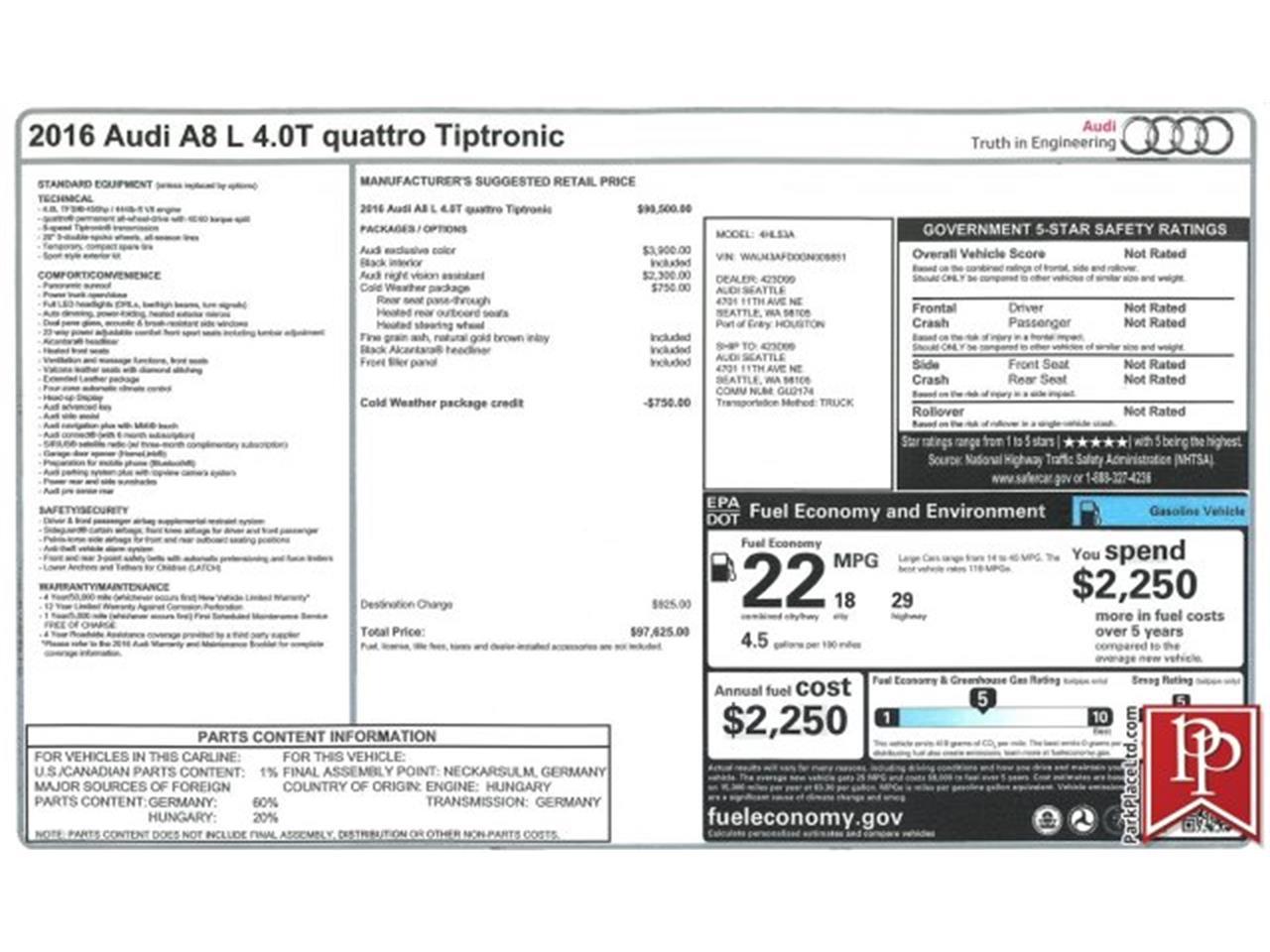 2016 Audi A8 (CC-1218497) for sale in Bellevue, Washington