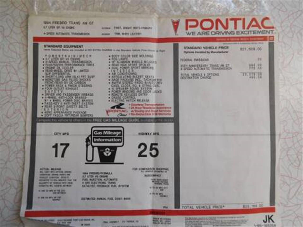 1994 Pontiac Firebird Formula Trans Am (CC-1271837) for sale in West Palm Beach, Florida
