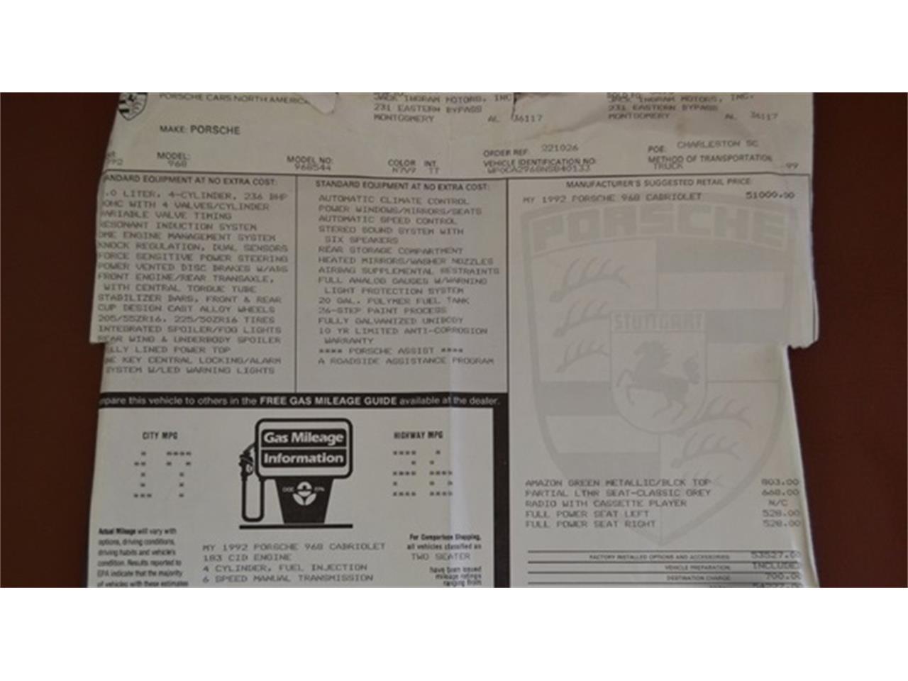 1992 Porsche 968 (CC-1300426) for sale in TAMPA, Florida