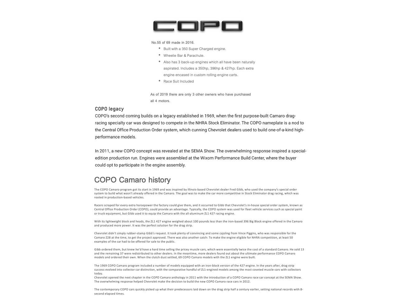 2016 Chevrolet Camaro COPO (CC-1341485) for sale in Destin, Florida