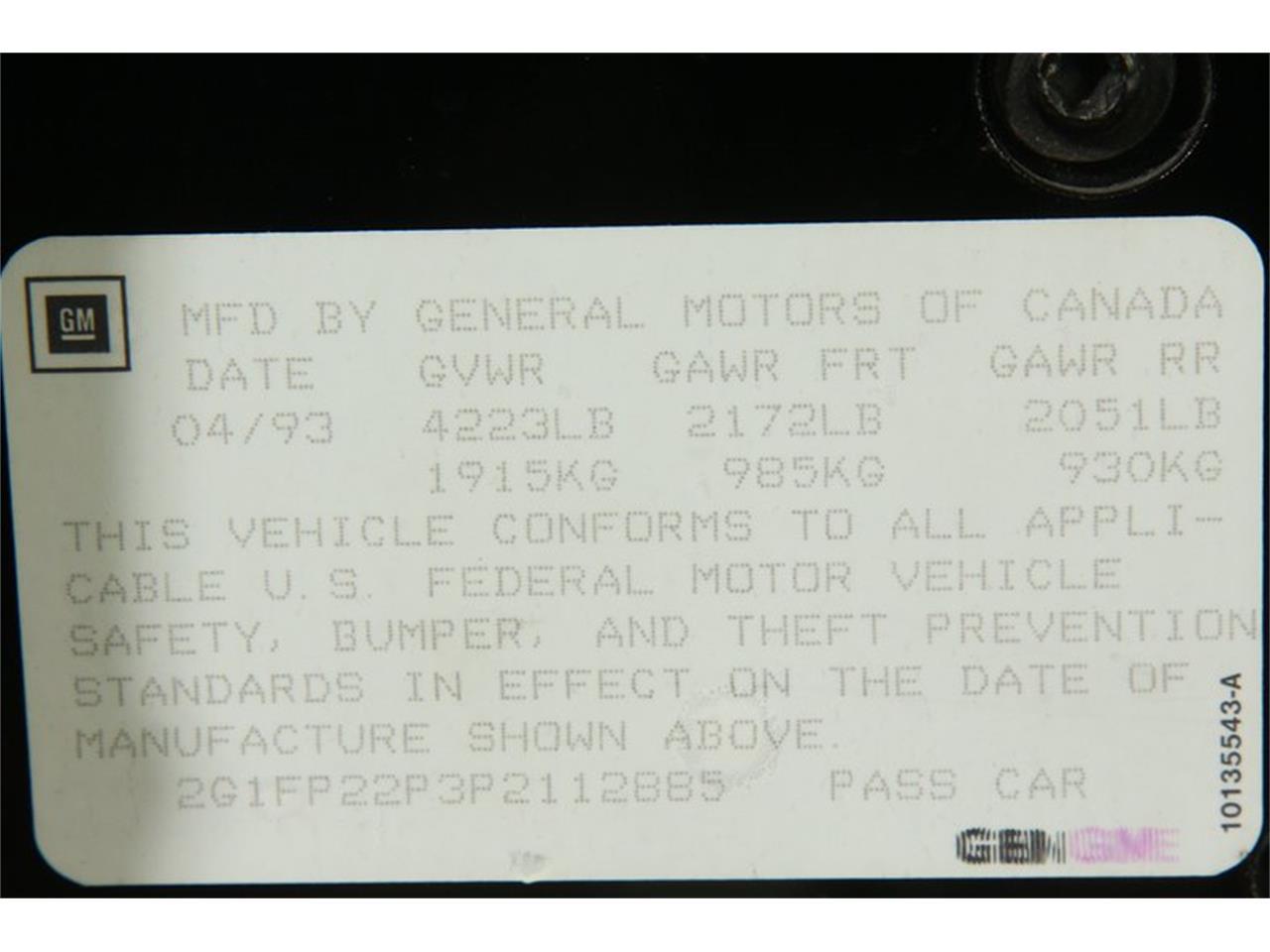 1993 Chevrolet Camaro (CC-1358664) for sale in Elyria, Ohio