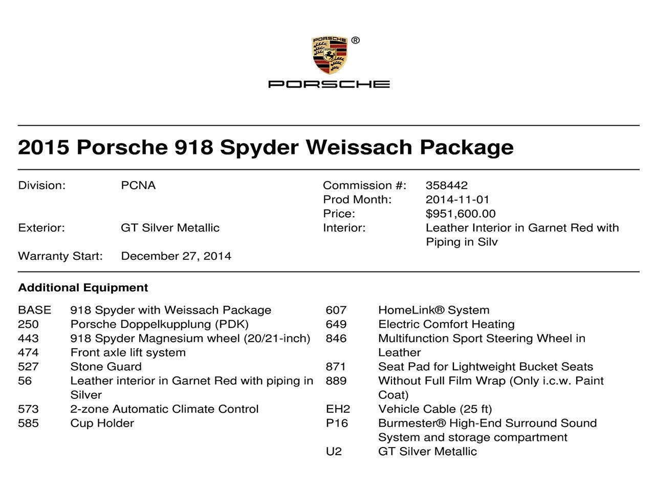 2015 Porsche 918 Spyder (CC-1363731) for sale in Valley Stream, New York