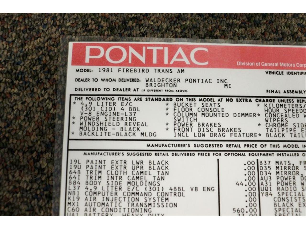 1981 Pontiac Firebird (CC-1387086) for sale in Kentwood, Michigan