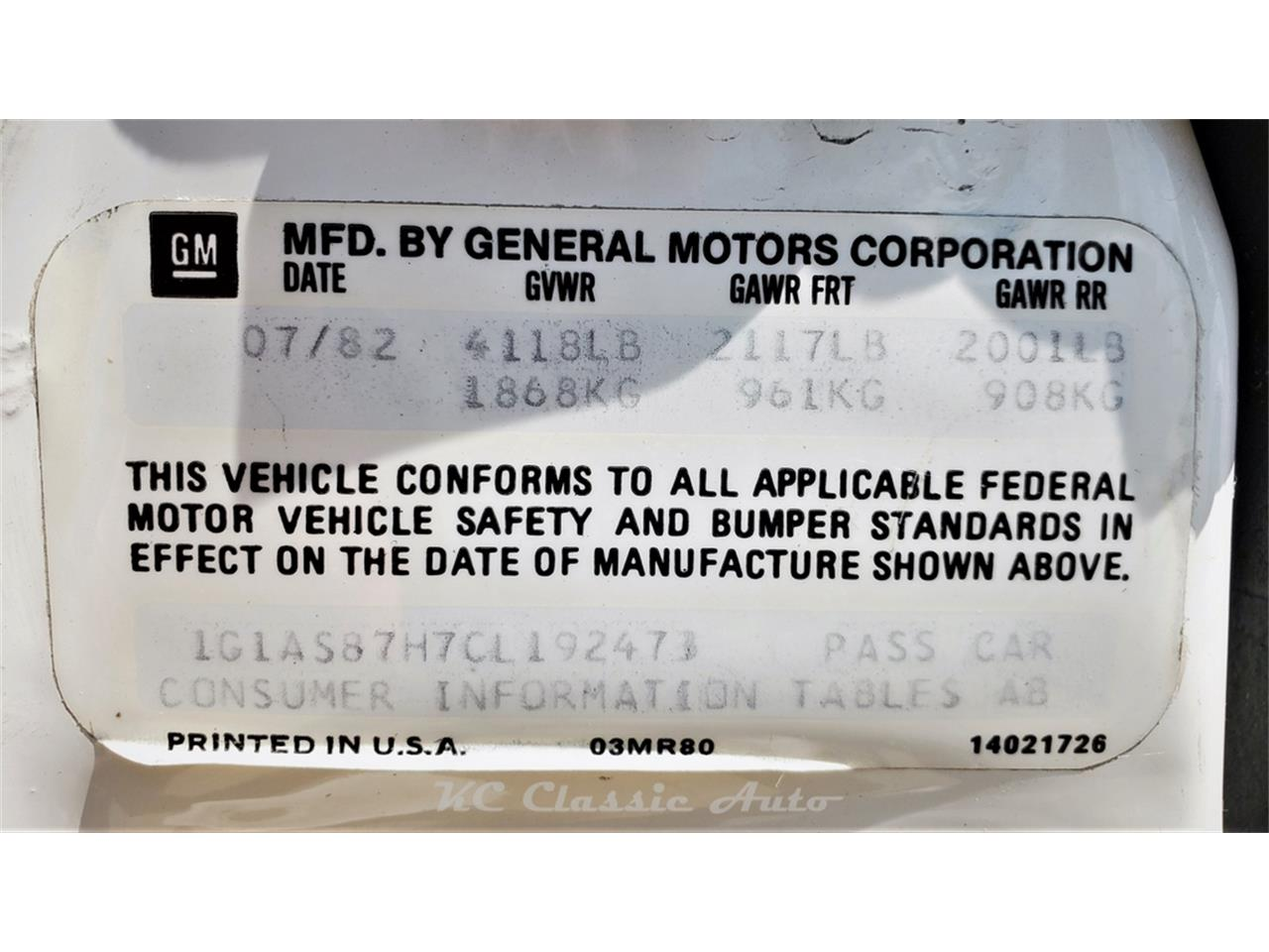 1982 Chevrolet Camaro (CC-1392536) for sale in Lenexa, Kansas