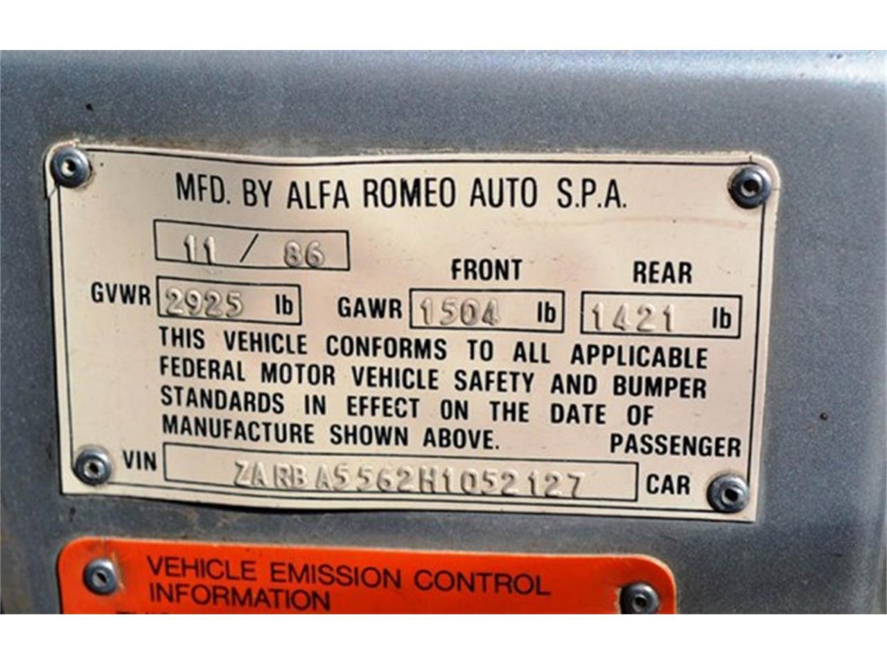 1987 Alfa Romeo Quadrifoglio (CC-971608) for sale in Barrington, Illinois